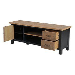 Meuble TV bleu avec rangements en bois recyclé - Rivages - Visuel n°12