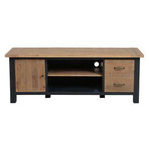 Meuble TV bleu avec rangements en bois recyclé - Rivages - Visuel n°13