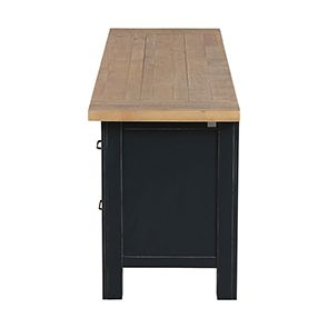 Meuble TV bleu avec rangements en bois recyclé - Rivages - Visuel n°18