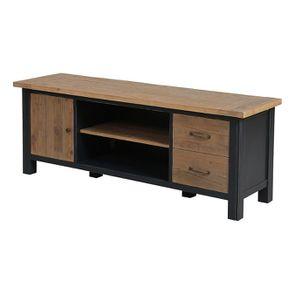 Meuble TV bleu avec rangements en bois recyclé - Rivages - Visuel n°1