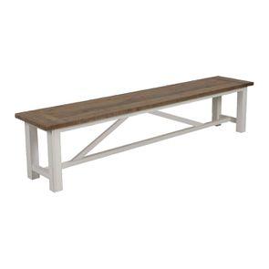 Banc blanc en bois recyclé L210 cm - Rivages - Visuel n°3