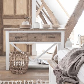 Console 3 tiroirs en bois recyclé blanc – Rivages