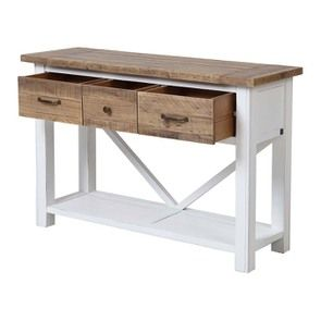 Console 3 tiroirs en bois recyclé blanc - Rivages - Visuel n°4