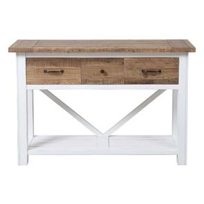 Console 3 tiroirs en bois recyclé blanc - Rivages