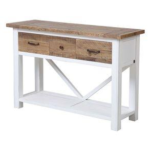 Console 3 tiroirs en bois recyclé blanc - Rivages - Visuel n°5