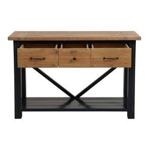 Console 3 tiroirs en bois recyclé bleu navy - Rivages - Visuel n°2