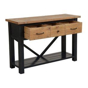 Console 3 tiroirs en bois recyclé bleu navy - Rivages - Visuel n°3