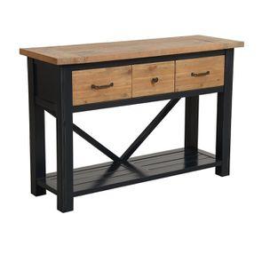 Console 3 tiroirs en bois recyclé bleu navy - Rivages - Visuel n°4