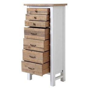 Commode chiffonnier en bois recyclé blanc - Rivages - Visuel n°3