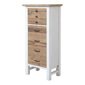 Commode chiffonnier en bois recyclé blanc - Rivages - Visuel n°4