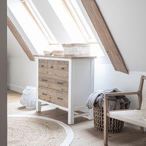 Commode 5 tiroirs en bois recyclé blanc - Rivages - Visuel n°3