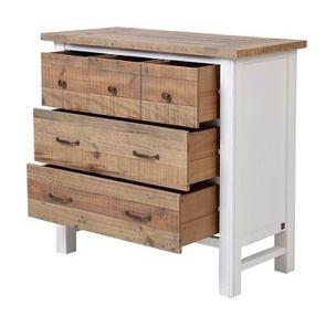 Commode 5 tiroirs en bois recyclé blanc - Rivages - Visuel n°4