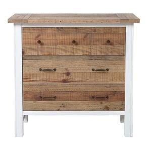Commode 5 tiroirs en bois recyclé blanc – Rivages