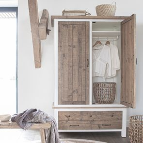 Armoire 2 portes en bois recyclé blanc -Rivages - Visuel n°4