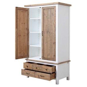Armoire 2 portes en bois recyclé blanc -Rivages - Visuel n°20