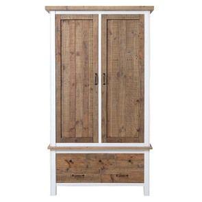 Armoire penderie 2 portes en bois recyclé blanc -Rivages