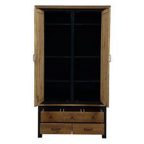 Armoire penderie 2 portes en bois recyclé bleu navy - Rivages - Visuel n°2