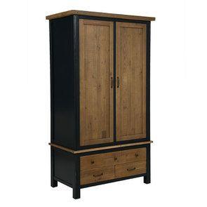 Armoire penderie 2 portes en bois recyclé bleu navy - Rivages - Visuel n°4