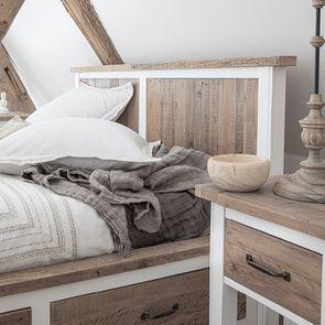 Table de chevet en bois recyclé blanc – Rivages - Visuel n°4