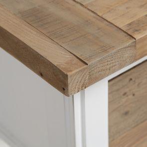 Table de chevet en bois recyclé blanc – Rivages - Visuel n°9