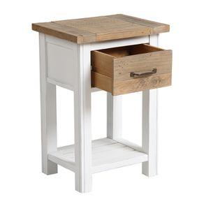 Table de chevet en bois recyclé blanc – Rivages - Visuel n°17