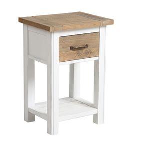 Table de chevet en bois recyclé blanc - Rivages - Visuel n°6