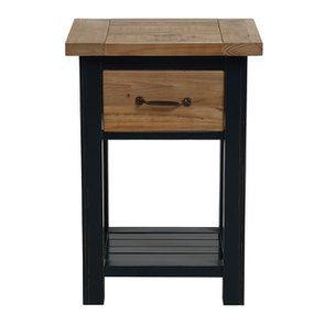 Table de chevet en bois recyclé bleu navy - Rivages