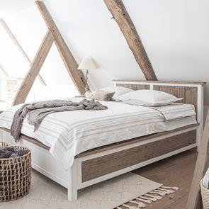 Lit 140x190 en bois recyclé blanc – Rivages