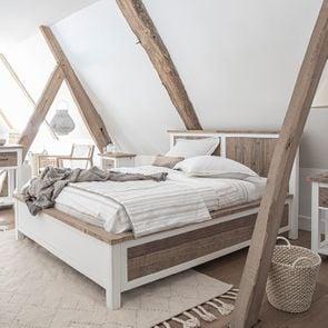 Lit 160x200en bois recyclé blanc -Rivages - Visuel n°3
