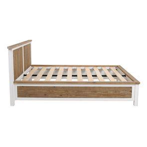 Lit 160x200en bois recyclé blanc -Rivages - Visuel n°1