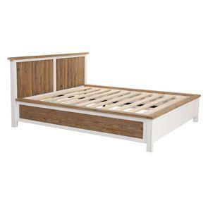 Lit 160x200en bois recyclé blanc -Rivages - Visuel n°4