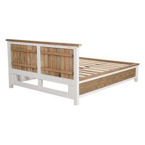 Lit 160x200en bois recyclé blanc -Rivages - Visuel n°5