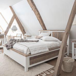 Lit 180x200 en bois recyclé blanc – Rivages - Visuel n°4