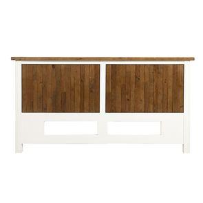 Tête de lit 140/160 cm en bois recyclé blanc satiné - Rivages