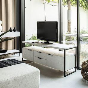 Meuble TV contemporain en frêne massif blanc - Demeure