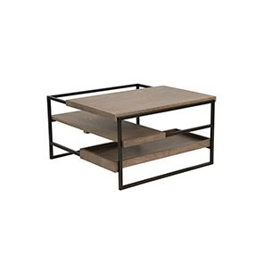 Table basse carrée contemporaine en frêne et métal - Demeure