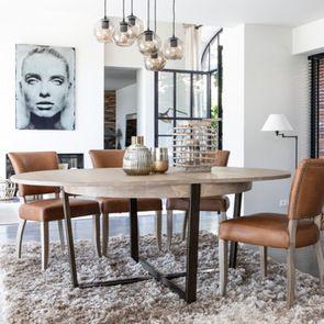 Table ronde extensible en bois et métal - Demeure - Visuel n°2
