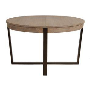 Table ronde extensible en bois et métal - Demeure - Visuel n°1
