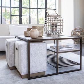 Table basse contemporaine en bois, verre et métal - Demeure - Visuel n°3