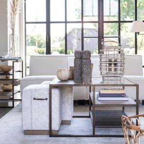 Table basse contemporaine en bois, verre et métal - Demeure - Visuel n°4