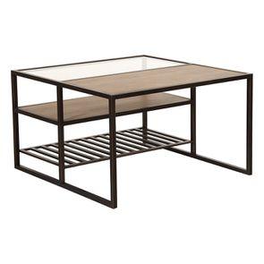 Table basse contemporaine en bois, verre et métal - Demeure - Visuel n°9