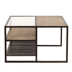 Table basse contemporaine en bois, verre et métal - Demeure - Visuel n°10