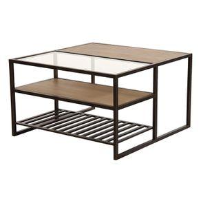 Table basse contemporaine en bois, verre et métal - Demeure - Visuel n°11