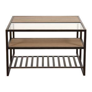 Table basse contemporaine en bois, verre et métal - Demeure - Visuel n°12