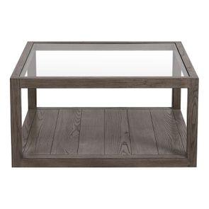 Table basse carrée contemporaine en frêne naturel fumé - Basale - Visuel n°7