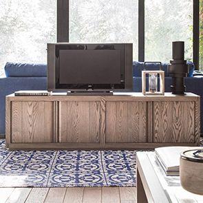 Meuble TV contemporain avec rangements en frêne - Basale