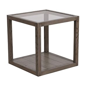 Bout de canapé contemporain en verre et frêne naturel fumé - Basale - Visuel n°9