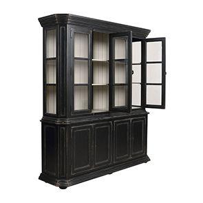 Buffet vaisselier noir 4 portes vitrées - Bruges - Visuel n°3