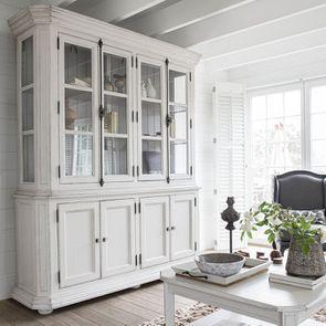 Buffet vaisselier 4 portes vitrées lin vieilli - Bruges - Visuel n°4