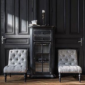Meuble de rangement vitré noir - Bruges